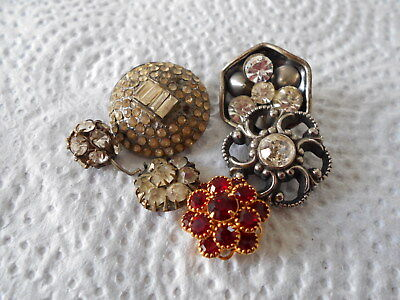 Antique/vintage 6 Rhinestone And Glass Buttons #732