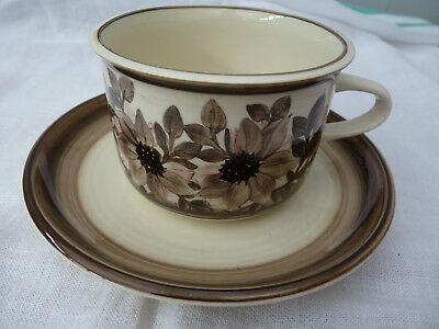 Jersey Pottery. Cup/Saucer  Brown Floral design. Large Size.