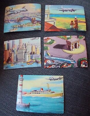 1950's ? x 5 OLD AIR FRANCE BOAC AIRCRAFT AIRPLANE RELATED PAPER TRADING CARDS