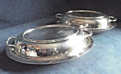 "SUPERB Pair 11"" ~ SILVER Plated ~ SERVING DISHES ~ c1930 by Frank Cobb"