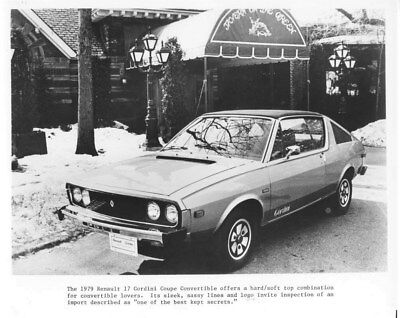 1979 Renault 17 Gordini Coupe Convertible ORIGINAL Factory Photo oua2214