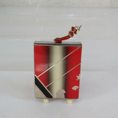 Vintage Art Deco Painted Red Enamel Powder Compact - Princess