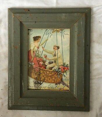 """1890's Reclaimed Wood Picture Frame 5"""" x 7"""" Wooden Antique Shabby Gray  48-18"""