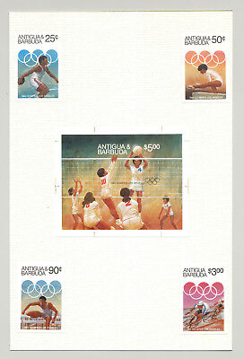Antigua #740-744 Olympics 4v & 1v S/S Imperf Proofs Mounted on Card