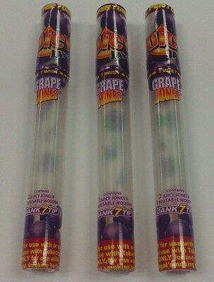 3 Juicy Jay's Jones Grape Pre-Rolled Cone Rolling Papers Reusable Wooden Tips