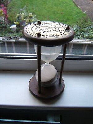 """Hourglass Sand timer vintage 9.5"""" tall brass and wood Roman numeral plate"""