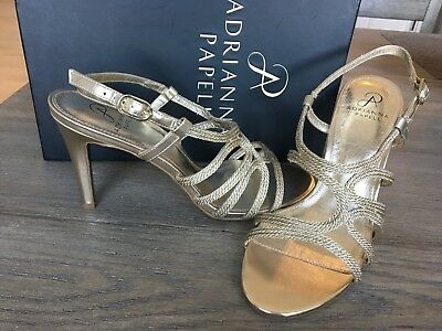 1f24c151576 Adrianna Papell Womens Size 10 Amena Platiino Gold Heels Sandals Shoes