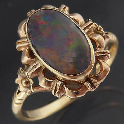 Original Vintage 1930's Solid 9k Yellow GOLD OVAL OPAL TRIPLET FLORAL RING Sz K
