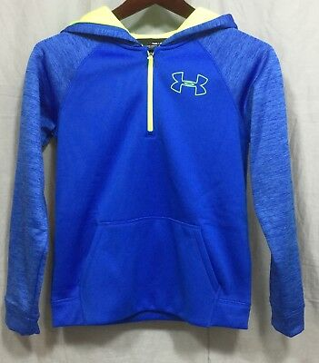 Under Armour Ultra Blue UA Storm 1/4 Zip ColdGear Boys' Loose Hoodie Youth Large