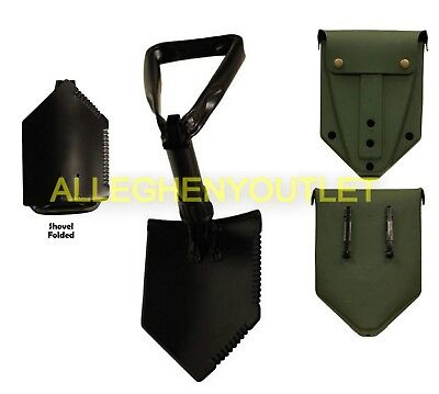 NEW Military AMES Entrenching Tool Shovel & USED E-Tool Cover w/ ALICE Clips