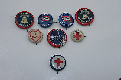 Antique Collection Of Eight Ww1 & Ww2 Victory Loan Red Cross Adv. Buttons Pins