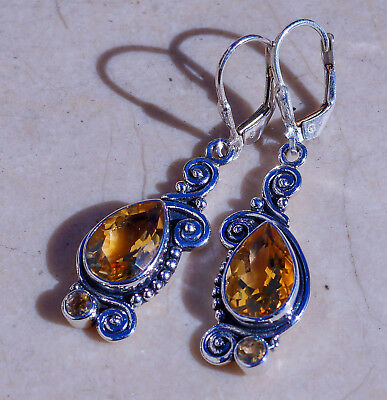 Beautiful Fancy Citrine & Solid 925 Sterling Silver Earrings by Silver Trend
