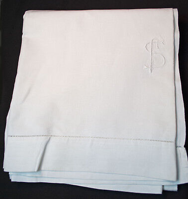"1920's PURE LINEN KING TOP SHEET MONOGRAM INITIAL ""S"" CLEAN UNUSED 113"" x 102"""