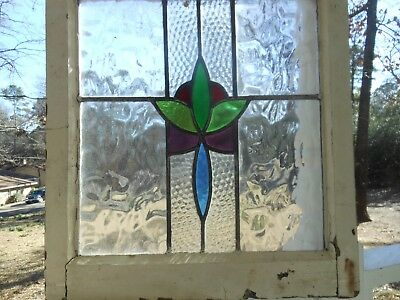 V-193 Lovely Large Older Leaded Stained Glass Window From England LAST ONE!!