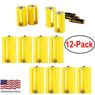 3 AA to Size D Battery Adapters Converter Cases Plastic Parallel Yellow 12 Pack