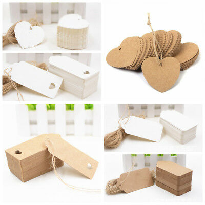 New 100Pcs Blank Kraft Paper Gift Retro Tags DIY Wedding Party Label Card