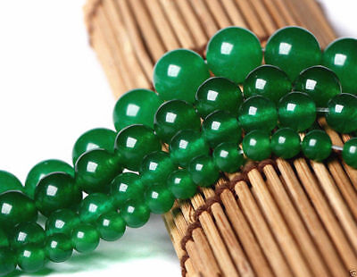 6/8/10MM Natural Green Jade Gemstone Round Loose Beads 15'' AAA