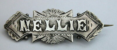 Antique Solid silver name brooch NELLIE 1901