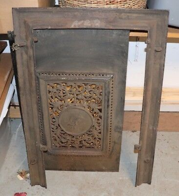 J.L. Mott Ironworks Antique Salvage Iron Fireplace Door Frame Surround Mantel