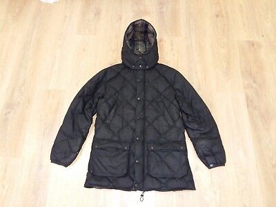 Barbour Feathers Down Wax rare mens black quilted puffer jacket size M
