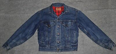 vintage LEVI'S TRUCKER FLANNEL LINED JEAN JACKET Made USA 57529 Youth XL Jacket