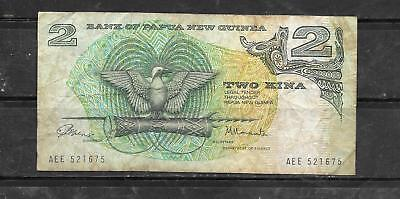 PAPUA NEW GUINEA #1a 1975 2 KINA VG CIRC BANKNOTE PAPER MONEY CURRENCY BILL NOTE