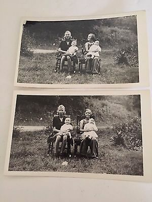 Two Antique Photographs of Two Girls with their antique DOLLS sitting on CHAIRS.