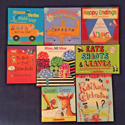 Lot of 8 Children's Picture Books about Grammar Punctuation Nouns Verbs & More