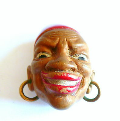 RARE Vintage 1930s 40s Hand Carved Wood African Man Wearing a Fez Dress Clip