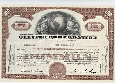Clevite Corporation (Brown)  Vintage Stock Certificate