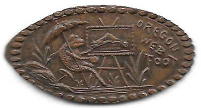1905 Lewis & Clark Exposition, Oregon Web Foot (frog) elongated cent ORE-LCCE-5