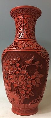 Republic Era Vintage Antique Chinese Carved Cinnabar Lacquer Vase