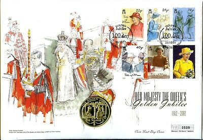 2001 Golden Jubilee Isle Of Man Mercury Fdc +Guernsey £5 Coin Vgc