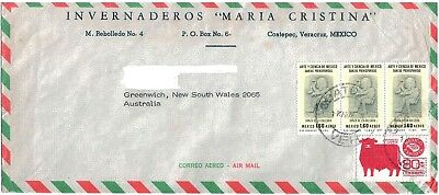 Commercial Air Maill Cover with Stamps Mexico to Australia 1978