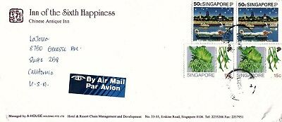 Commercial Cover with Stamps Singapore to US 1993