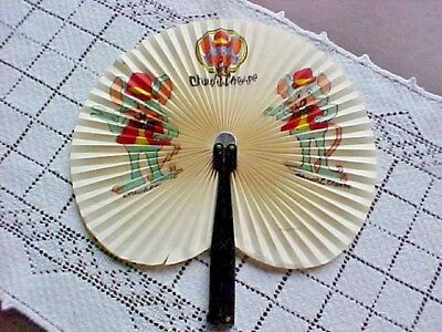 "Chuck E Cheese Paper Hand Fan Plastic Handle 10"" Extended Has 1/2"" and 1"" Tear"