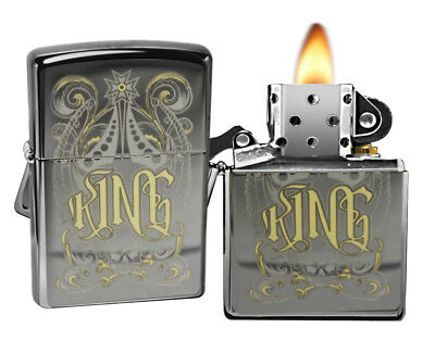 Zippo Lighter 28798 King Venetian Laser Black Ice Pocket Windproof Classic NEW
