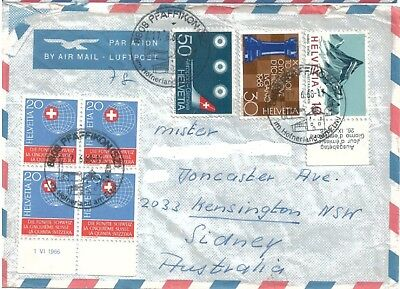 Old Air Mail Cover with Stamps Switzerland to Australia 1968