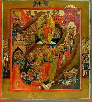 Old Antique Russian Icon of Resurrection, 19th c