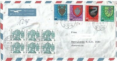 Old Air Mail Cover with Stamps Switzerland to Australia 1979 Front Only