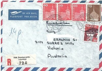 Air Mail Cover with Stamps Switzerland to Australia 1974 Back Stamped