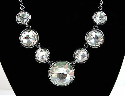 HUGE RHINESTONES Brilliant Cut Clear Glass NECKLACE Gunmetal Gray  Signed BB