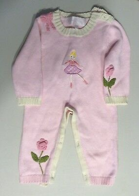 Powell Craft (England) Baby Girls One Piece Sweater Outfit..0-6 Months