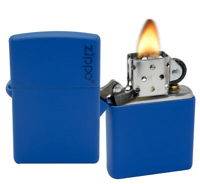 Zippo 229ZL Royal Blue Matte Zippo Logo Windproof Pocket Lighter Classic NEW
