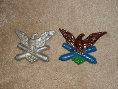 2 Vintage cast aluminum  painted Eagle with CANNON wall sculpture