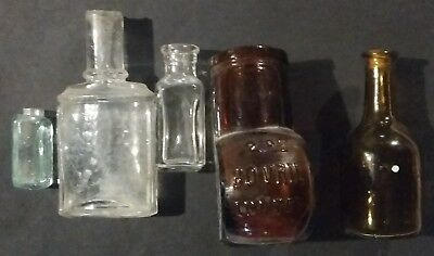Antique Glass Medicine Bottles 5 Different Only 1 is Corked see description
