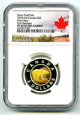 2018 Canada $2 Gilt Silver Proof Polar Bear Toonie Ngc Pf69 Ucam First Releases