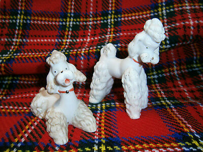 2 Bisque Poodle Dog Ornaments For Accessory To Antique French Fashion Doll