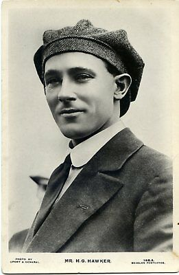 Harry Hawker - Early Aviator - Old Real Photo Postcard