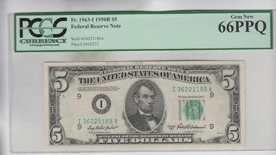 Federal Reserve Note $5 1950B PCGS graded Gem new 66PPQ